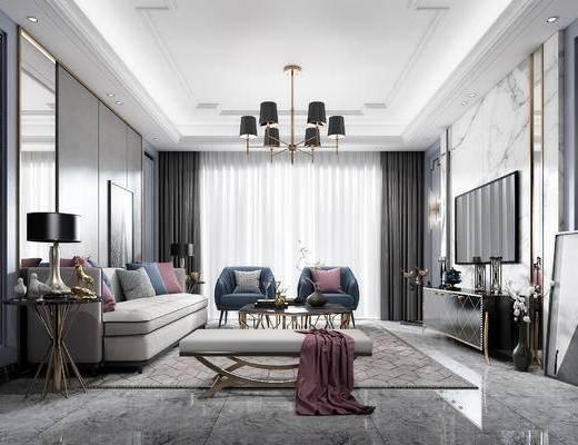现代客厅, 客厅, 沙发组合, 沙发茶几组合, 吊灯, 电视柜