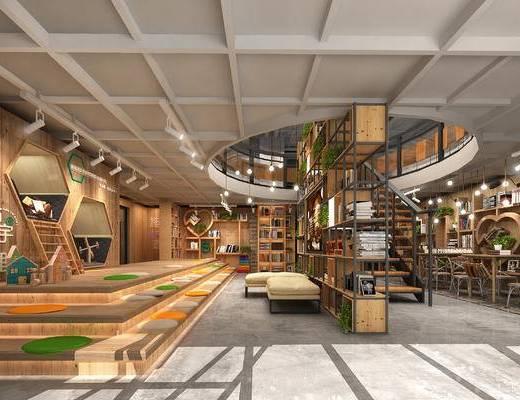书店, loft, 书吧, 书桌椅, 书架, 植物, 书柜