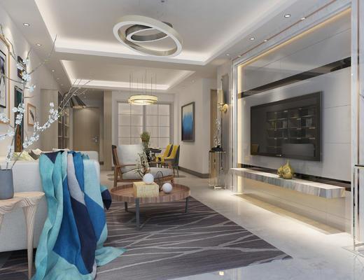 客厅, 现代客厅, 现代沙发, 沙发组合, 沙发茶几组合