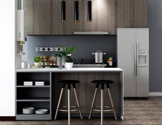 橱柜组合, 厨具组合, 吧台椅组合, 吊灯组合, 摆件组合, 盆栽, 绿植植物, 现代