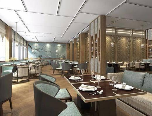 餐厅, 主题餐厅, 新中式餐厅, 桌椅组合, 隔断, 餐具, 新中式