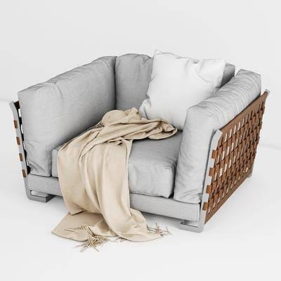 单人沙发, 现代沙发, 沙发, 布艺沙发