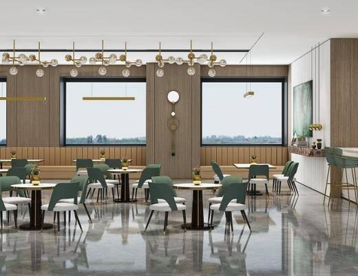 水吧, 休息區, 茶水區, 桌椅組合, 前臺接待, 吧臺椅組合, 吊燈組合, 現代