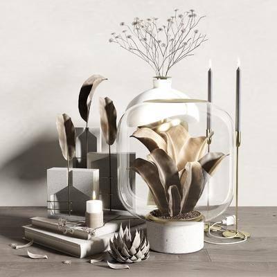 饰品, 摆件组合, 花瓶, 植物