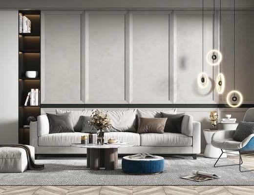 沙发组合, 抱枕, 吊灯, 茶几, 花瓶, 单椅