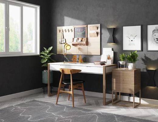 书桌, 书桌椅, 桌椅组合, 北欧书桌, 墙饰, 北欧