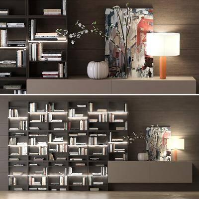 现代书柜装饰柜边柜组合, 现代, 书柜, 书籍, 花瓶