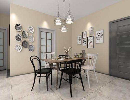 餐桌组合, 挂画组合, 墙饰组合, 北欧