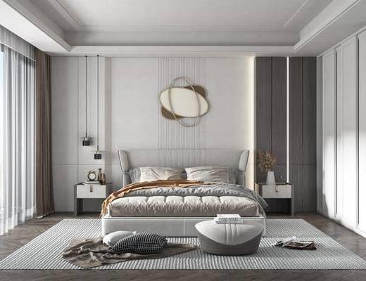 双人床, 床具组合, 床头柜, 墙饰, 衣柜