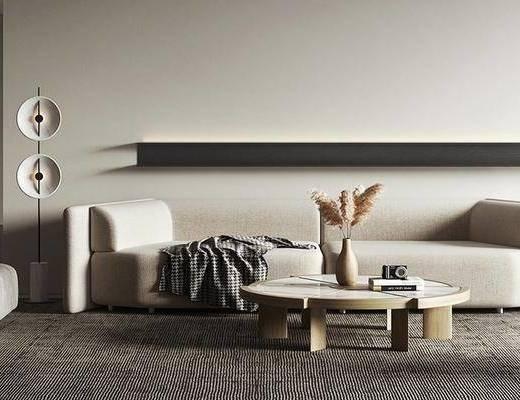 沙发组合, 茶几, 摆件组合, 落地灯, 单椅
