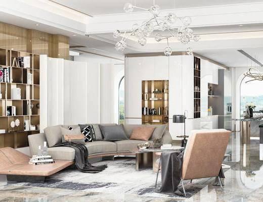 沙发组合, 茶几, 吊灯, 餐桌, 酒柜