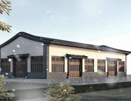 青瓦白墙, 木门窗, 双坡顶, 厂房