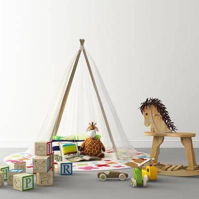 玩具, 木马摇椅, 抱枕, 积木