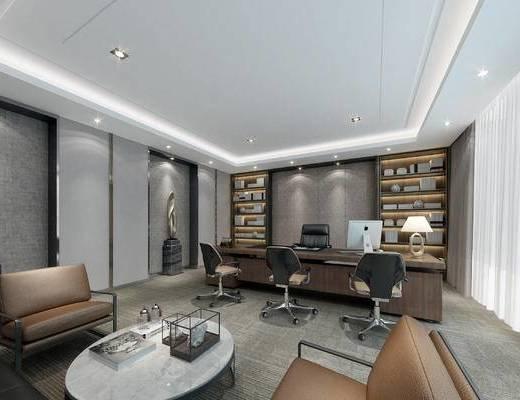 办公, 现代, 经理室, 董事长室, 办公室, 办公桌, 办公椅, 书柜, 台灯, 沙发组合