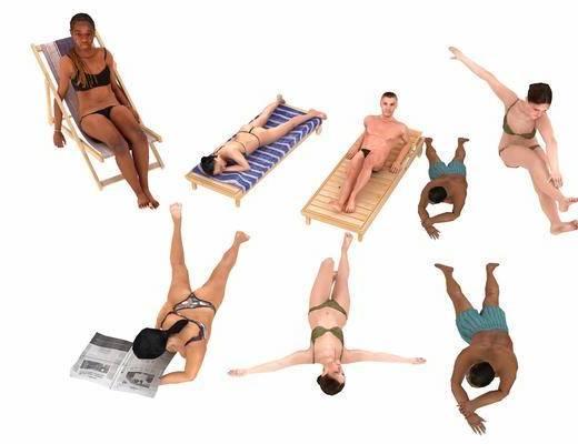 沙滩美女, 男人, 女人, 现代