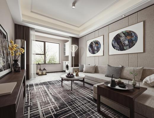 现代简约, 客厅, 沙发茶几组合, 电视柜, 落地灯