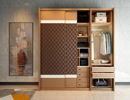 实木衣柜, 衣柜, 服饰, 装饰画, 现代