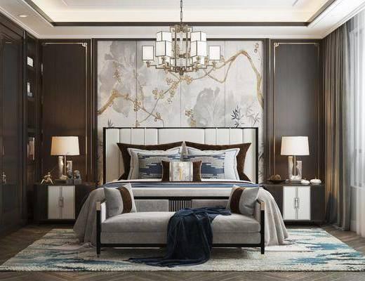 双人床, 床尾踏, 背景墙, 吊灯, 床头柜, 衣柜