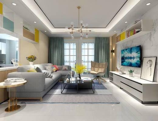 客厅, 沙发组合, 沙发茶几组合, 电视柜, 茶几, 多人沙发