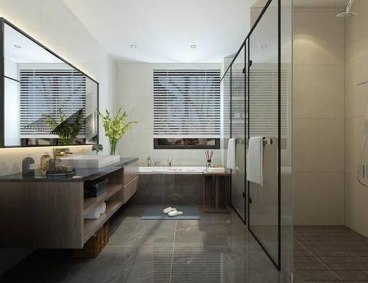 卫生间, 主卫, 淋浴间, 洗手台, 浴缸
