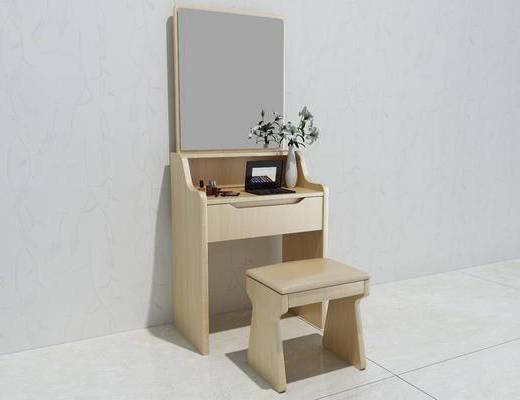 实木梳妆台, 桌椅组合, 北欧