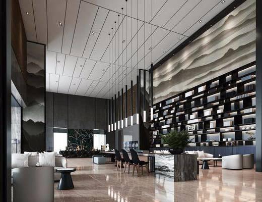 酒店会所, 洽谈区, 多人沙发, 茶几, 单人沙发, 吧台, 吧椅, 吊灯, 边几, 装饰柜, 装饰品, 单人椅, 陈设品, 新中式