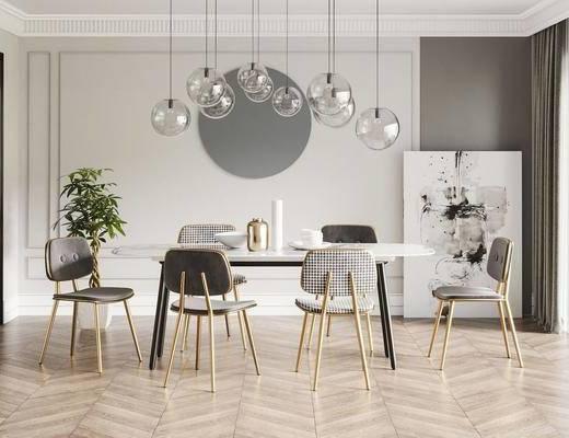 北欧餐桌, 餐椅, 吊灯, 装饰画