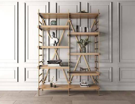装饰架, 装饰柜, 书柜, 书籍, 摆件, 装饰品, 陈设品, 工业风