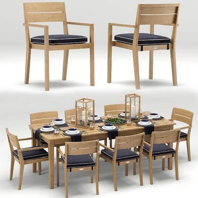 餐椅, 餐桌, 餐具, 现代, 碗碟, 刀叉, 摆件