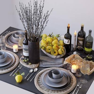 餐桌餐具, 酒水食物, 花卉摆件, 摆件组合, 现代