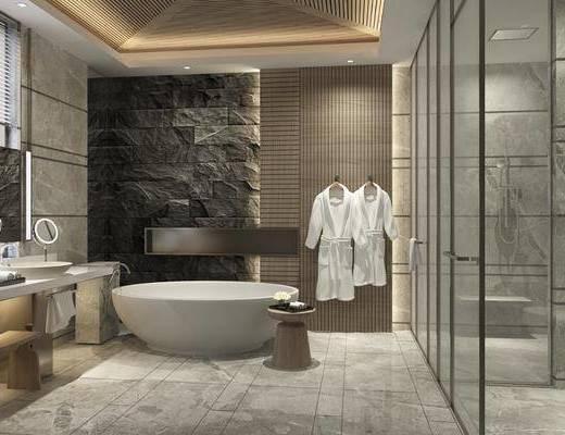 卫生间, 浴缸, 浴巾, ?#35789;?#21488;, 凳子, 摆件, 装饰品, 陈设品, 马桶, 现代