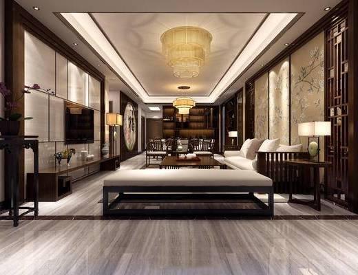 客厅, 餐厅, 电视柜, 吊灯, 餐桌, 新中式, 中式, 台灯, 椅子, 落地灯, 墙画