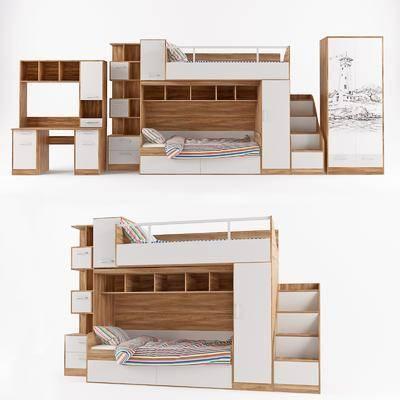 现代板式儿童卧室床衣柜书桌椅组合模型, 现代, 儿童床, 子母床, 上下车
