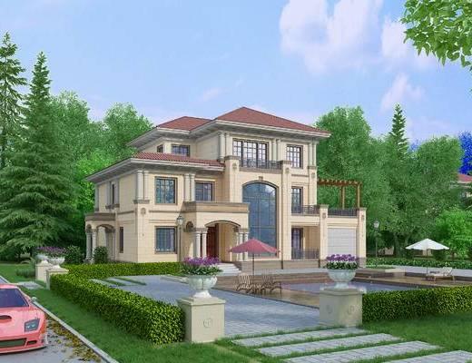 欧式别墅外观, 欧式, 别墅, 植物