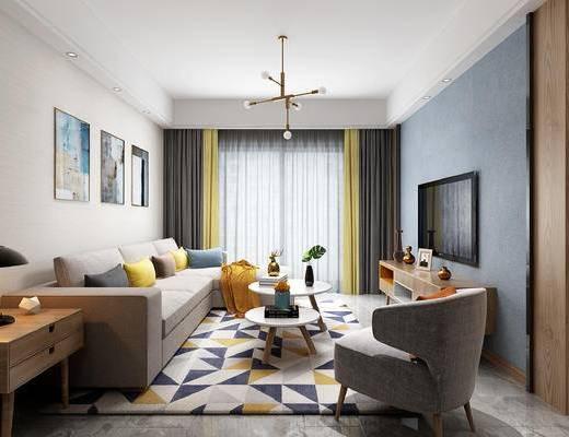 北欧, 客厅, 吊灯, 沙发, 休闲椅, 窗帘, 台灯, 电视柜, 摆件, 花瓶, 画, 现代, 沙发组合, 装饰画