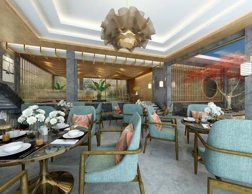 酒店大堂, 餐桌, 餐椅, 单人椅, 餐具, 吊灯, 多人沙发, 茶几, 单人沙发, 盆栽, 茶桌, 装饰品, 陈设品, 现代