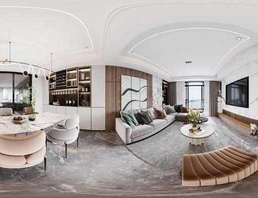 现代, 客餐厅, 全景, 家装