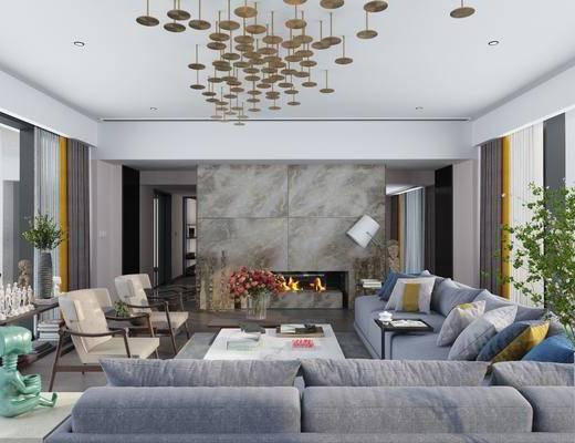 客厅, 多人沙发, 茶几, 转角沙发, 单人椅, 树木, 摆件, 装饰品, 陈设品, 现代