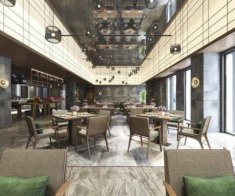 酒店餐廳, 宴會廳, 餐桌椅組合, 吊燈組合, 餐具組合, 裝飾柜組合, 擺件組合, 現代