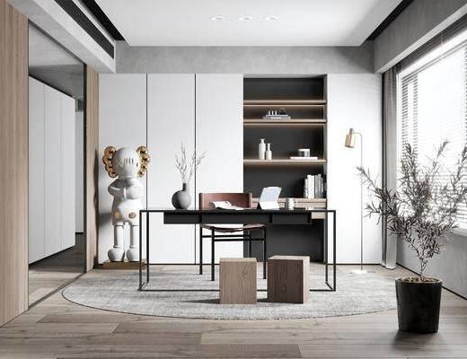 书桌, 桌椅组合, 书柜, 摆件组合, 盆栽