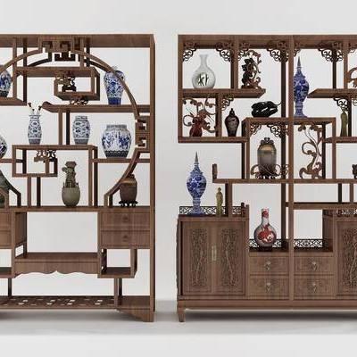 中式, 博古架, 摆件, 古董, 古董柜, 置物架
