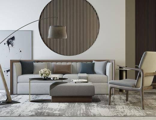 沙发组合, 多人沙发, 茶几, 单人椅, 落地灯, 装饰画, 挂画, 新中式