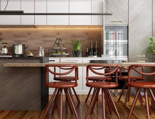 吧臺吧椅, 單人椅, 吊燈, 茶具, 綠植植物, 廚具, 北歐