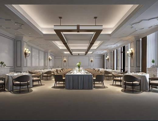 酒店宴会厅, 大堂大厅, 桌椅组合, 圆桌椅组合, 吊灯组合, 壁灯组合, 欧式