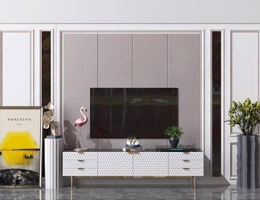 造型墙, 电视柜, 绿植装饰品