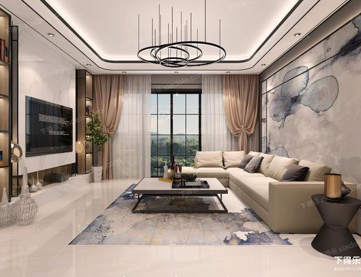 客厅, 沙发组合, 沙发茶几组合, 吊灯, 多人沙发, 茶几