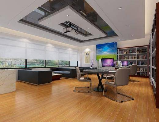 双人沙发, 茶几, 单人椅, 电脑, 书柜, 书籍, 投影仪, 阅览室, 现代