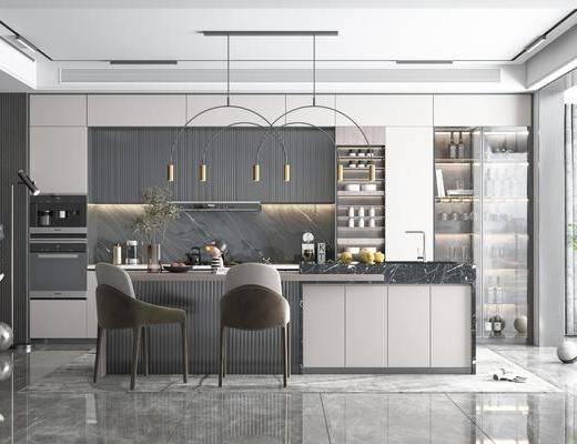 现代, 厨房, 吊灯, 橱柜, 厨具, 单椅