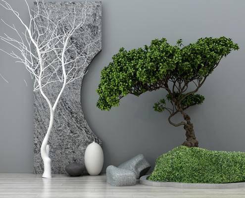 园林小品, 绿植, 植物, 假山, 园林景观, 中式