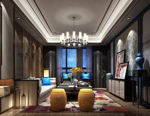客厅, 多人沙发, 茶几, 单人椅, 凳子, 电视柜, 装饰柜, 边柜, 装饰架, 边几, 台灯, 吊灯, 装饰画, 挂画, 摆件, 装饰品, 陈设品, 现代